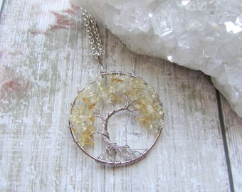 Offset Citrine Gemstone Tree Of Life Pendant Necklace, Silver Plated