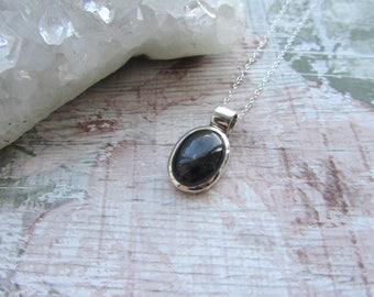 Black Star Diopside Gemstone - 925 Sterling Silver Pendant Necklace Natural - Cabochon Bezel Set