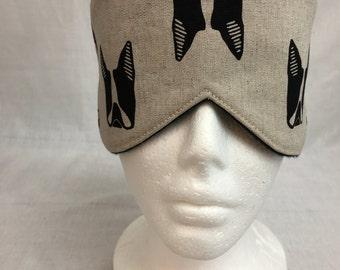 Boston Terrier Cotton/Linen Sleep Mask and Case Set, Eye Mask, Travel Mask - Choose  Color