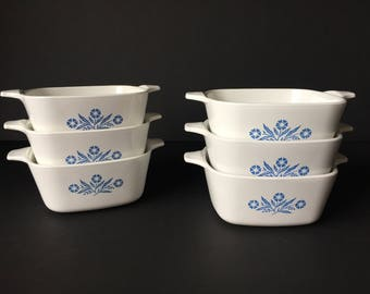 Vintage Corning Ware Pans, Cornflower Blue Individual Dishes, Mini Cooking Dishes, Set of Six Corningware P-43, Individual Serving Dishes