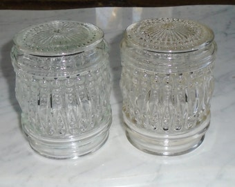 2 Vintage Virden Jelly Jar Style Pressed Bubble Glass Light Cover Globes