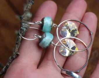 Love Inside ~ Handmade sterling silver, artisan lampwork glass, crystal love heart, hoop earrings, ombre hoop, OOAK earrings