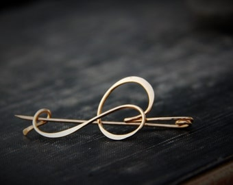 Modern, minimalist shawl pin, scarf pin, sweater pin, brooch, #2 abstract calligraphy brush stroke pin, gold, silver, elegant, line, simple
