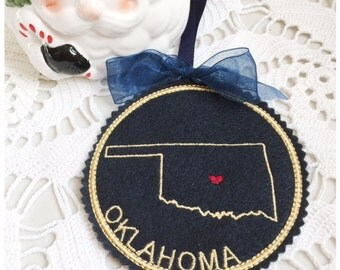 I Heart Oklahoma Coaster and Ornament Machine Embroidery Design Instant Download I Love Oklahoma with Positionable Heart