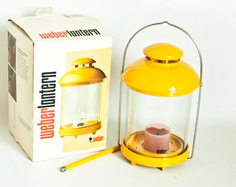 Vintage Yellow WEBER Lantern, Wind and Rain Proof Candle Camping Lantern by Lars Sweden, Original Box
