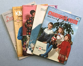 Lot of 5 Vintage Knit And Crochet Pattern Books 1962-1971