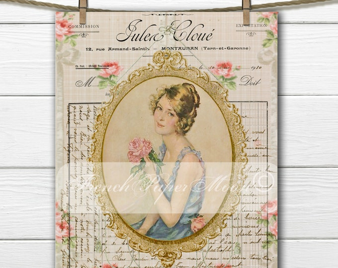 Shabby Chic Victorian Girl, French Typography, Roses, French Pillow Transfer Image, Iron On Fabric, Digital Graphic Transfer