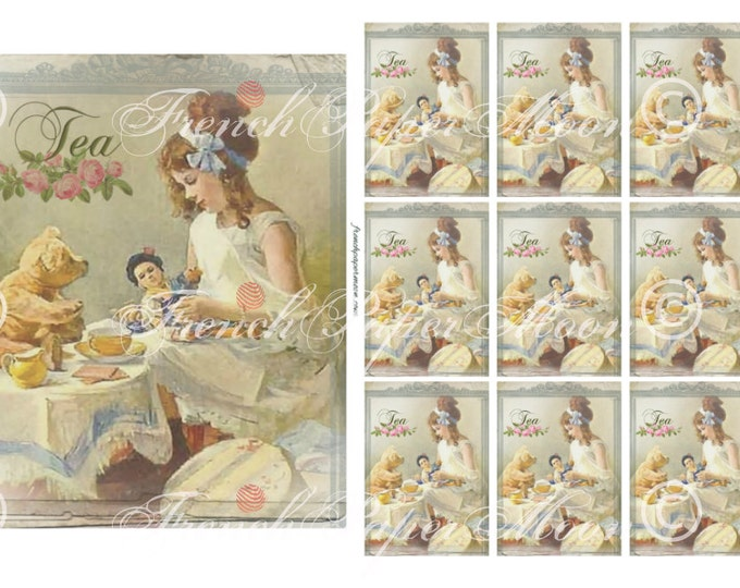 Shabby Vintage Tea Party, Teddy Bear Tea Party, Teatime ATC collage sheet, Girl with her teddy, Printable Tea Party