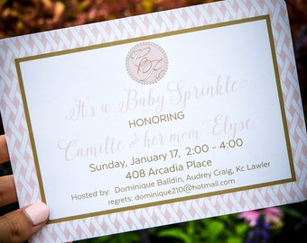 Printed Custom Baby Sprinkle Invitation, Personalized Baby Sprinkle Invites, Baby Shower Invitations, Second Baby Shower Party Invites