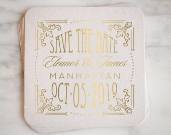 Personalized Art Deco Save the Date Coaster, Custom Printed Coaster, Save the Date, Custom Metallic Printed Coaster, Modern Save the Date