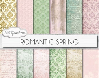 "Lovers in Spring Digital Papers,""Romantic Spring"" pale pink, sage green, love, toile,damask,wedding invitation, scrapbooking, digital papers"