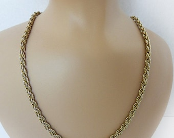Vintage Gold Tone Chain Necklace / Twisted Rope Chain Necklace / Trending Fashion Jewelry