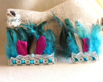 Newborn Headband - baby girl hair bands - baby headband with feathers - photography prop - blue feather headband - feather headband - crowns