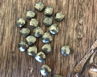 6 ea. Pyrite Faceted Heart Briolettes 7mm  Wholesale