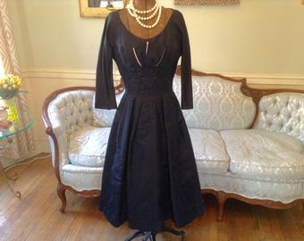 1950s Vintage Dress Full Skirt with Netting Deep Midnight Blue Heavy Sateen Sculptural