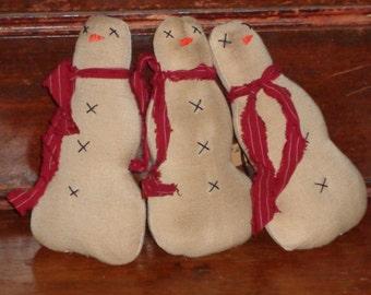 Primitive Snowman Ornies*Bowl Filler*Cupboard Tuck*Winter Decor*