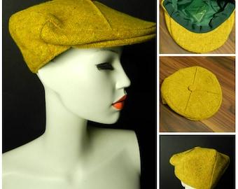 Vintage 60s 70s speckled WOOL tweed cloth flatcap hat gold mustard green newsboy cap M u.k. 6 3/4