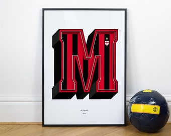 M is for Milan, Football Typography Print