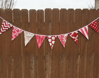 SALE*** Double Sided Valentine's Fabric Bunting Banner