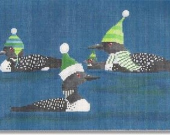 Needlepoint Handpainted SCOTT CHURCH 3 Loons -Free US Shipping!!!