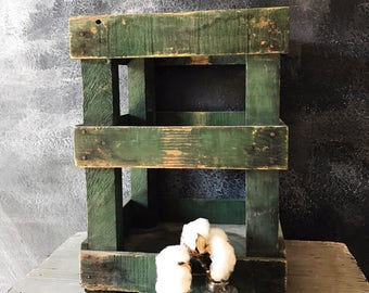 Green Crate / Vintage Wood Crate / Water Bottle Crate / Wood Crate / Old Rustic Crate / Large Wood Crate / Farmhouse Crate / Farmhouse Decor