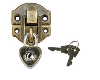 Mini Heart Padlock Antiquish Color with Lock Hasp and Key  Or Antiquish Mini Heart Lock