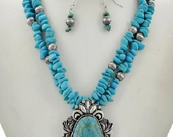 gorgeous turquoise chip silver beads pendant necklace