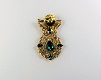 Green and Clear Crystal with Gold Angel Pin