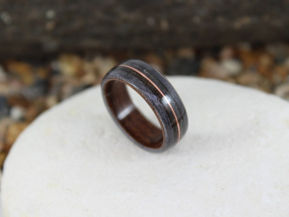 Rosewood Grey Maple Wooden Ring With Dinosaur Bone