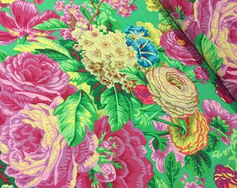 """Remnant 30""""x44"""" Kaffe Fassett Fabric - Floral Delight PWPJ 075 Green Phillip Jacobs - 100% Quality Cotton OOP and Rare"""
