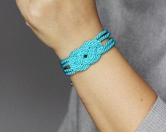 Bright Turquoise Bracelet, Sailor Knot Bracelet, Rope Knot Bracelet, Bright Bracelet, Knot Bracelet, Nautical Bracelet,Nautical Jewelry,Knot