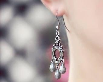 Chandelier Earrings Silver Drop Earrings Dangle Gray Earrings Silver Bohemian Earrings Boho Earrings Silver Grey Earrings Gray Drop Earrings