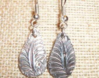 Precious Metal Clay Drop Leaf Earrings