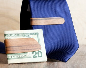 Red Gum Steam Bent Wood Money and Tie Clip Combo- Red Gum with Dyed Yellow Center