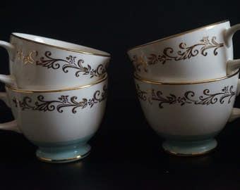 Vintage, Set of Four Lifetime China Co. Semi Vitreous Gold Crown Teacups