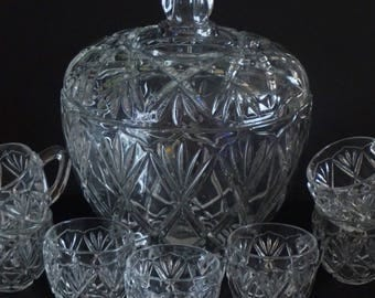 Vintage, Mikasa  Roxborough Glass Punch Bowl with Lid and Eight Cups