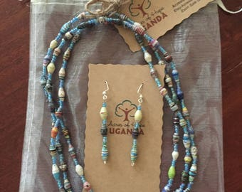 Necklace/Earring Set -MOTHER'S DAY SALE - Handmade in Uganda - Recycled Magazine Beads