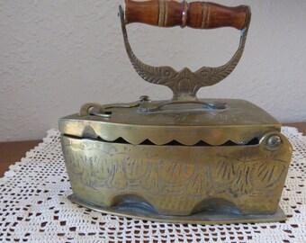 Special-Antique Coal Brass Iron Etched Wood Handle Primitive.