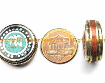 1 BEAD Om Mantra Reversible Tibetan Bead with Brass, Turquoise, Coral, Tibetan Silver Inlays- Om Beads Nepal Tibetan Beads- B3150-1