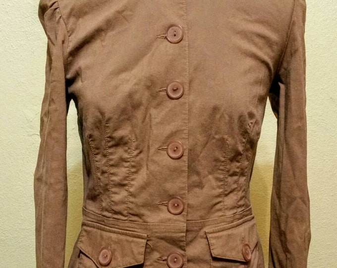 Diesel-punk / Steampunk Brown Stretch Jacket with Front Pockets. Size Small