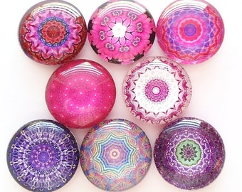 Mandala Magnets, Talavera Magnets, Refrigerator Magnets, Fridge Magnets, Decorative Mandala Magnets, Pinks Purples Mandala Magnets, Set of 8