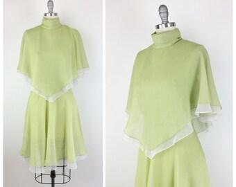 70s Green Chiffon Dress / 1970s Sheer Layered Party Dress / Medium / Size 8