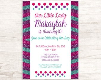 Colorful Glitter Young Girl Birthday Invitation