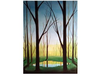 Nature Paintings//Pond Paintings//Oil Paintings//The Pond//12x16// Oil on Canvas//Nature Art//Landscape Art//
