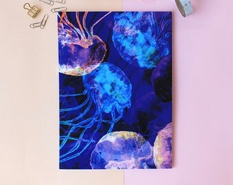 A4 Blue watercolour Jellyfish Notebook with lined pages
