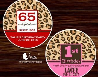 Cheetah Print Favor Tags