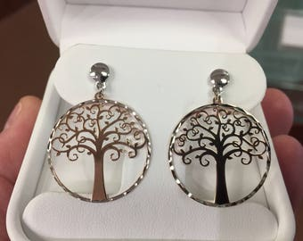 tree of life sterling silver rose gold plated dangle earrings
