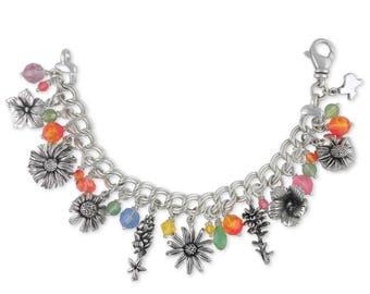 Texas Wildflower Bracelet Jewelry Sterling Silver Handmade Flower Bracelet TWF-BR