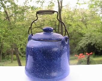 Pot, Little Blue wire Handled pot, Porcelain Blue Speckled Mini Pot, Cute!