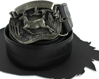 Thief River Falls MN Silver Limited Edition Buckle on Black Leather Belt  -  US size 36 to 39
